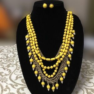 SOPHIA & KATE GOLDEN MUSTARD NECKLACE SET